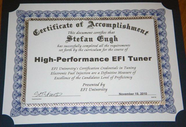 EFI University Hight Perfromance EFI Tuner Certificate
