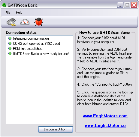 GMTDScan Basic - Connect to truck